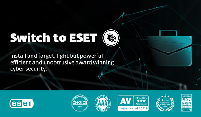 Switch to ESET. Install and forget, light but powerful, efficient and unobtrusive award winning cyber security.
